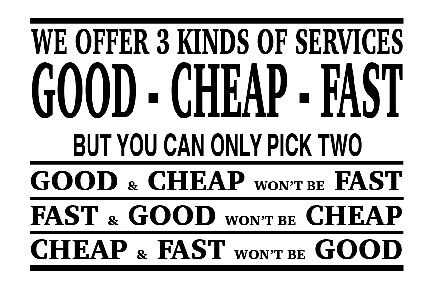 Good cheap fast service: is there such a thing?